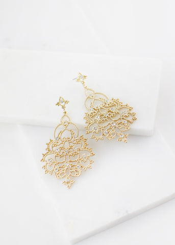 Rhinestone Pave Filigree Earrings