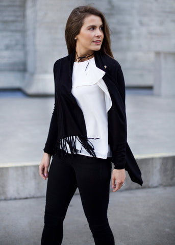 Nannette Sweater with Fringe - Black
