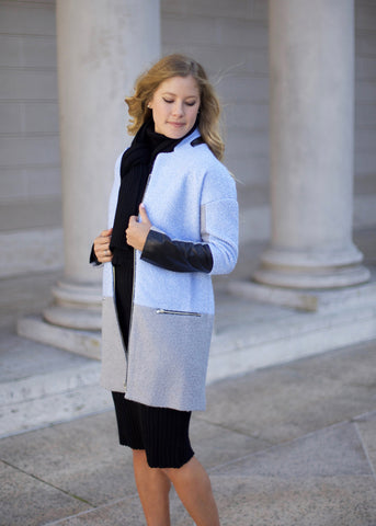 Seraphina Coat with faux leather details