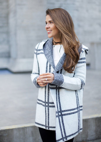 Checked Hooded Sweater Coat - Ivory