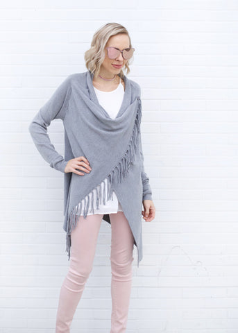 Nanette Fringe Sweater - Heather Grey