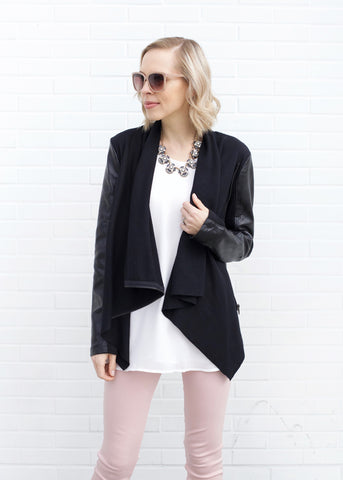 Vegan Leather Drape Jacket - Black