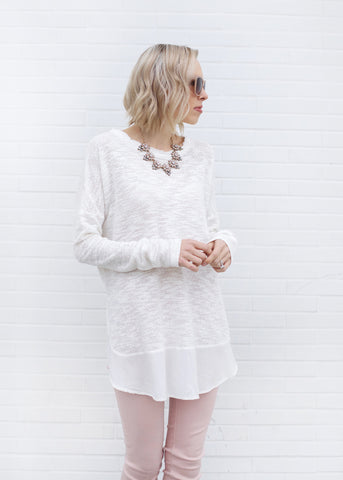 Long Sleeve Tee with Surplice Hem - White