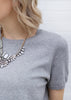 Short Sleeve Crop Sweater - Gray