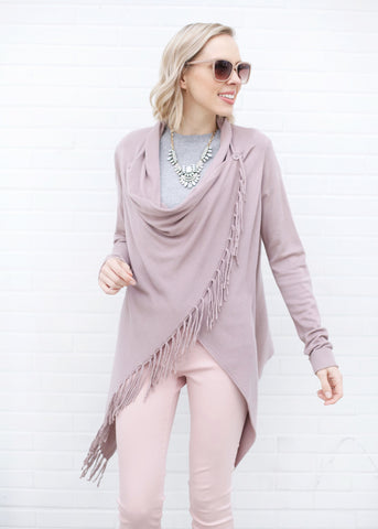 Nannette Sweater with Fringe - Dusty Lilac