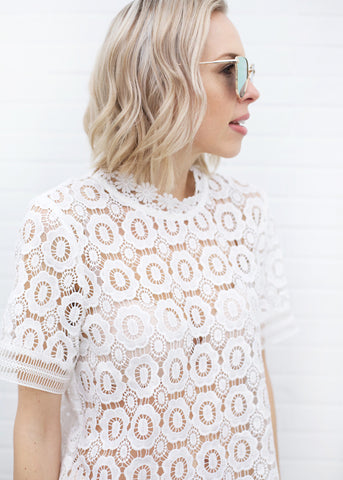 Kate Lace Detail Top - White