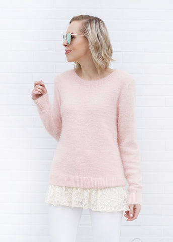 Soft Fuzzy Sweater with Lace Detail - Blush