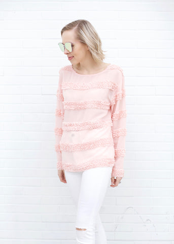 Embellished Detail Long Sleeve Top - Blush