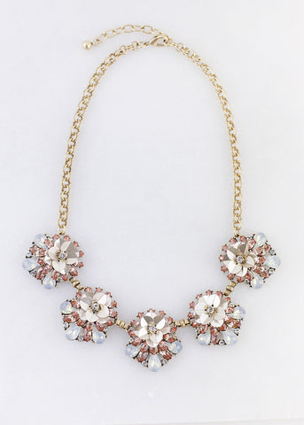 Pastel Gem Flower Detail Necklace - Blush