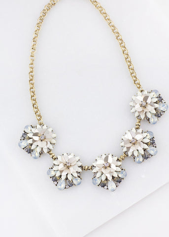 Pastel Gem Flower Detail Necklace  - Ivory & Powder Blue