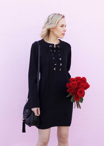 Lace Up Bell Sleeve Sweater Dress - Black