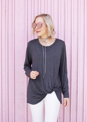Long Sleeve Knot Detail Top - Charcoal