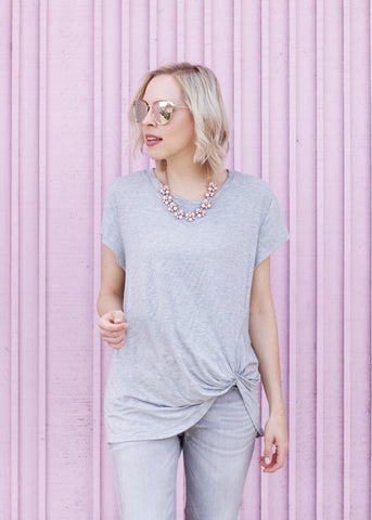Knot Detail Short Sleeve Top - Heather Gray