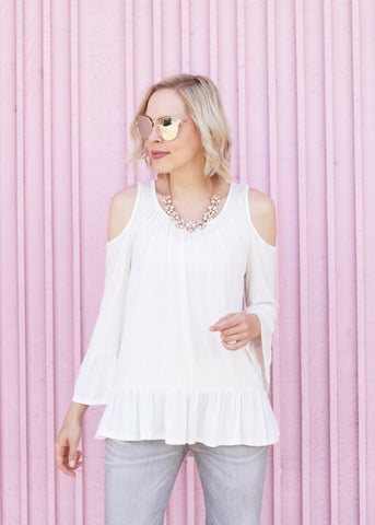 Ruffle Detail Cold Shoulder Top - Ivory