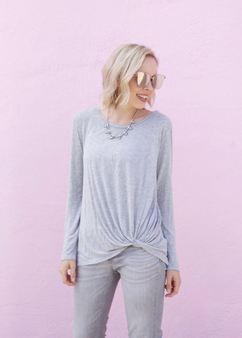 Knot Detail Long Sleeve Top - Heather Gray