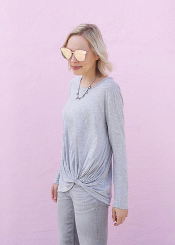 Long Sleeve Knot Detail Top - Heather Gray