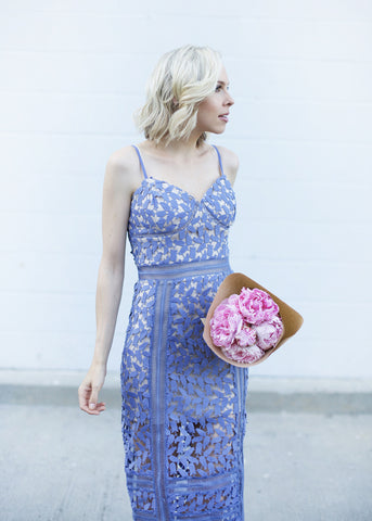 Dusty Lilac Tulip Lace Dress