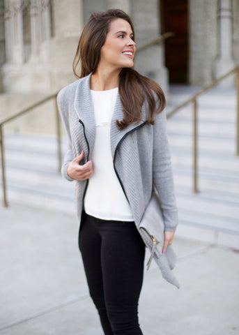 Leather Trim Cardigan - Grey