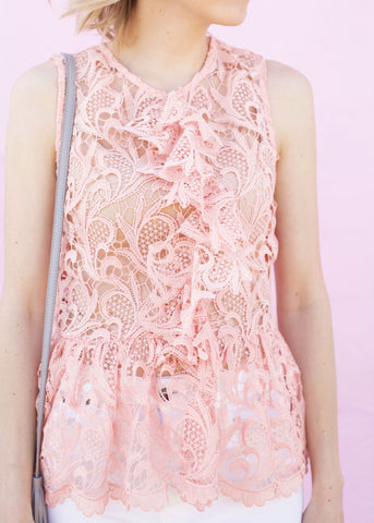 Ruffle Detail Lace Sleeveless Top - Blush