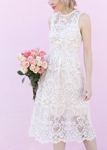 Lace Detail Midi Dress - Ivory