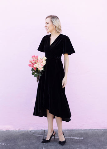 Velvet Wrap Short Sleeve Dress - Black