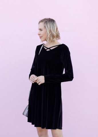 Velvet Dress with Criss Cross Detail