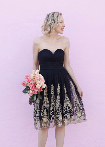 Embroidered Strapless Dress - Black