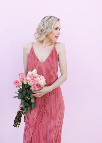 Pleated Midi Dress with Rope Belt - Mauve