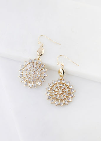 Circle Rhinestone Dangle Earrings - Gold