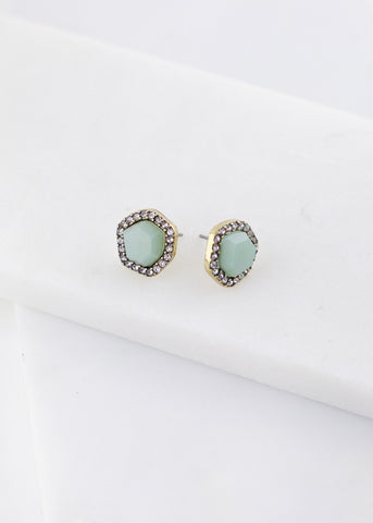 Crystal and Resin Post Earrings - Dusty Teal