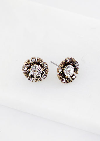 Petite Crystal Flower Stud Earrings