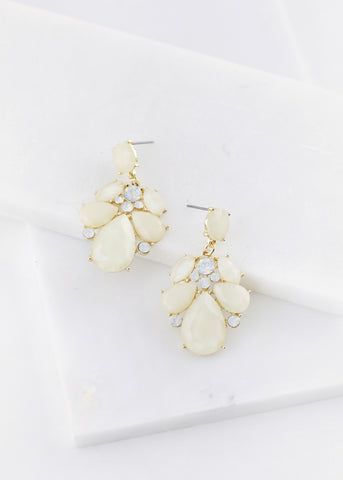 Rhinestone Detail Statement Earrings - Ivory