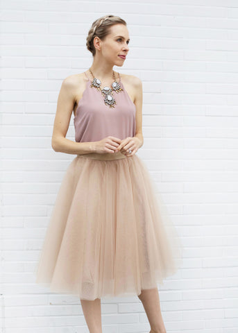 Dreamy Tulle Midi Skirt - Champagne