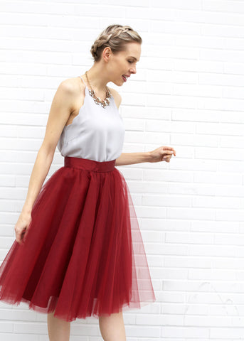 Dreamy Tulle Midi Skirt - Burgundy