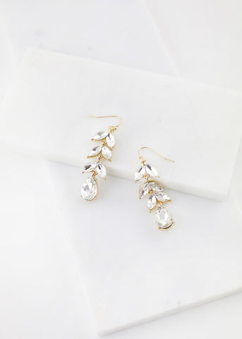Faceted Leaf Dangle Earring - Gold