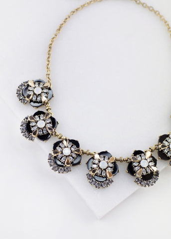 Crystal Cluster Flower Necklace - Jet