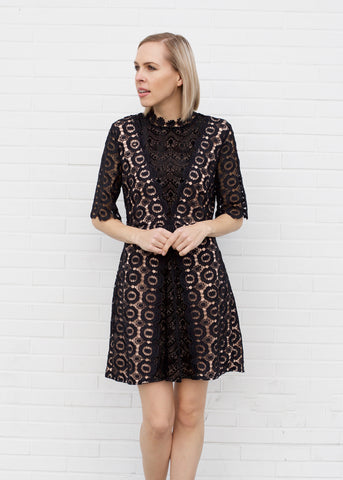 Velvet Burnout & Lace Detail Dress - Black