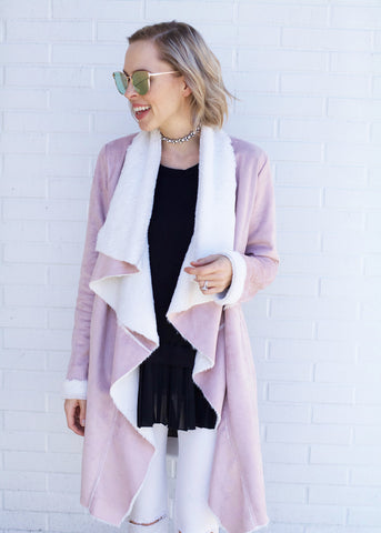 Vegan Fur Midi Drape Coat - Dusty Pink
