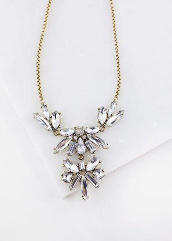 Clear Glass Crystal Simple Statement Necklace