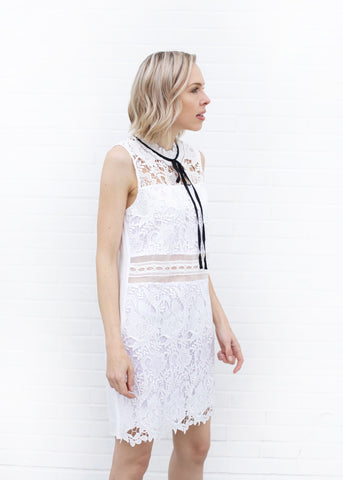 Tie Collar Crochet Lace Dress - White