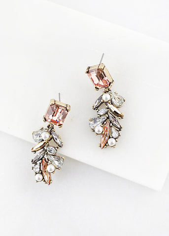 Rectangular Gem Pearl Earrings - Blush