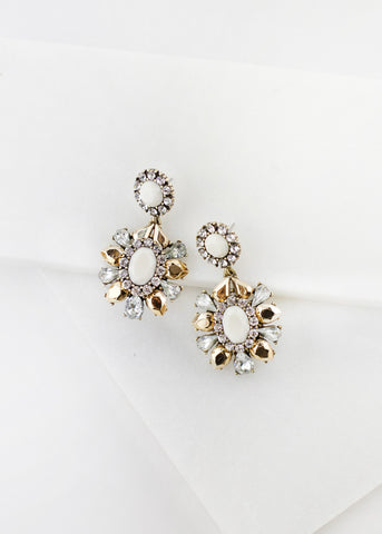 JEWELED STONE DROP EARRING - Cream