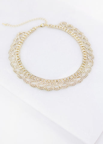 Gold Bib Detail Rhinestone Necklace