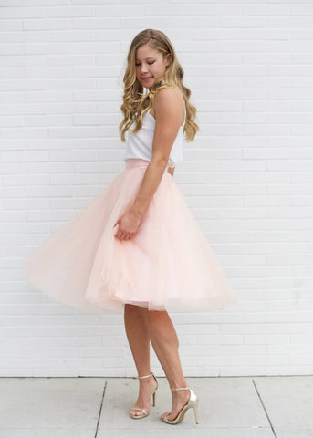 Dreamy Tulle Midi Skirt - Blush