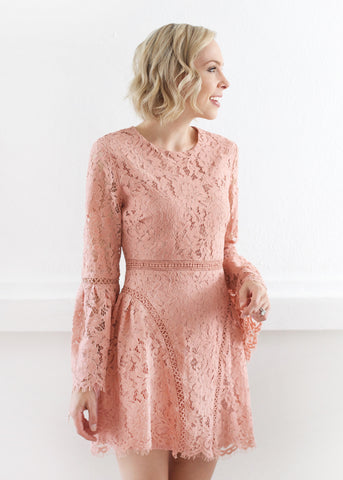 Fitted Lace Bell Sleeve Dress - Pink Sand