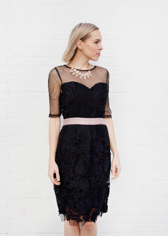 Lace and Mesh Detail Cocktail Dress - Black