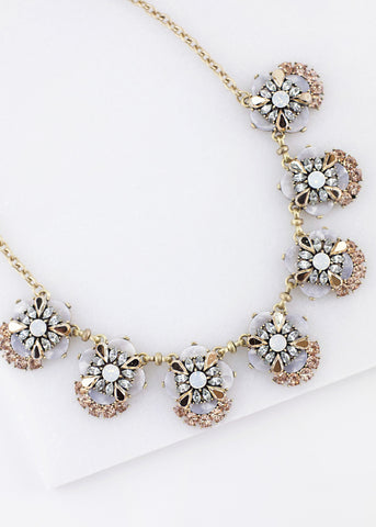 Crystal Cluster Flower Necklace - Cream