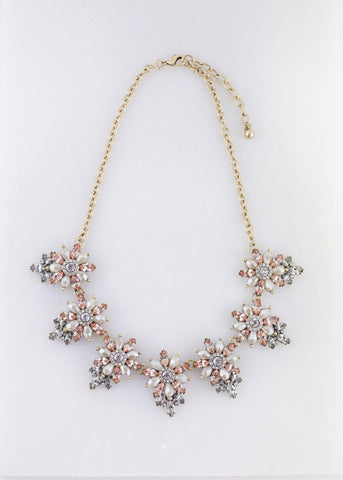 Flower Jeweled Necklace - Blush