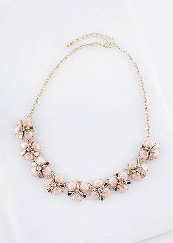 Multi Flower Bib Necklace - Blush