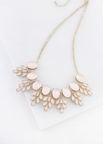 Leaf Detail Statement Necklace - Blush
